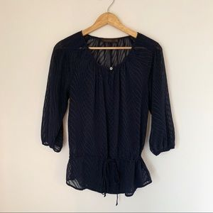THE LIMITED NAVY SHEER BLOUSE LADIES SMALL